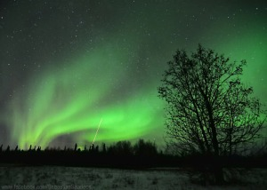 The Northern Lights result from Earth's magnetic field repelling charged particles emitted by the sun.